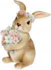 """Декоративная статуэтка """"Кролик с цветами"""" 7.5х7.5х11см, полистоун, розовый"""
