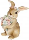 """Декоративна статуетка """"Кролик з квітами"""" 7.5х7.5х11см, полистоун, рожевий"""