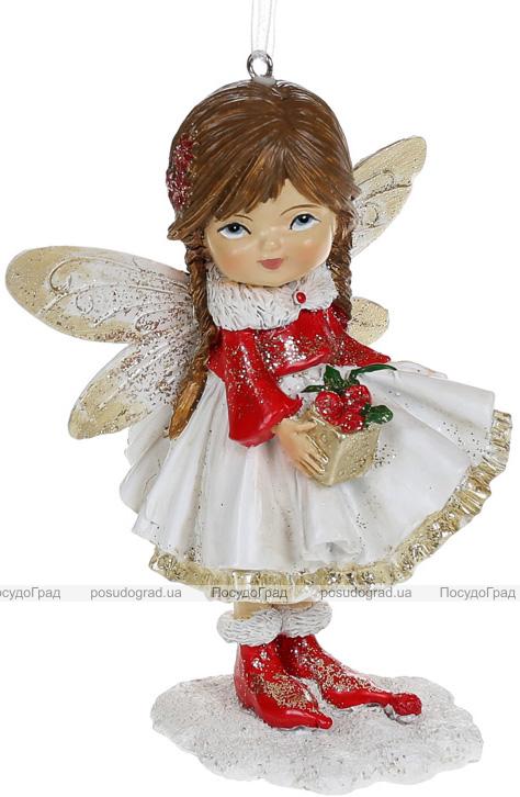"""Набор 4 подвесные статуэтки """"Маленькая Фея с Подарком"""" 11.5см, полистоун, красный с белым"""