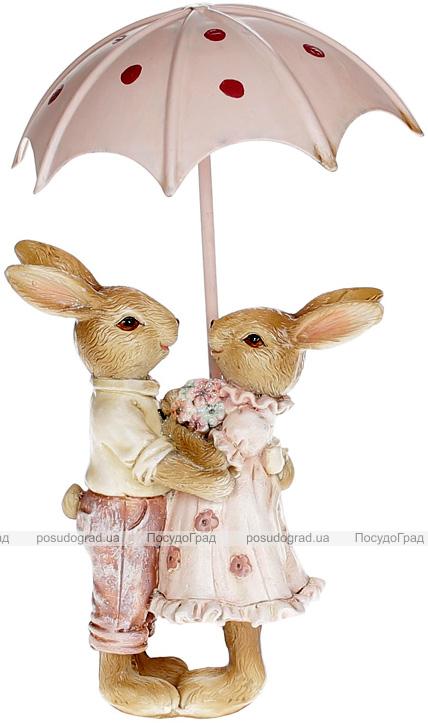 Декоративна композиція «Закохані кролики під парасолькою» 9х4.5х11см