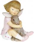 """Декоративна статуетка """"Дівчинка з Кроленям"""" 9.5х6х10.5см, полистоун, рожевий"""