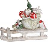 """Декоративні """"Сани з подарунками"""" 38х16х29см, полістоун, беж з червоним"""