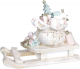 """Декоративні """"Сани з подарунками"""" 38х16х29см, полістоун, беж з рожевим"""