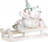 "Декоративные ""Сани с подарками"" 38х16х29см, полистоун, беж с розовым"