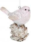 """Набор 4 подвесные статуэтки """"Птичка на Шишке"""" 9см, полистоун, бежево-розовый"""