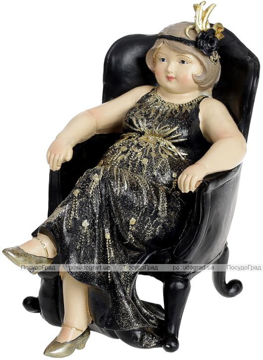 Статуэтка декоративная «Дама в кресле» 17.5х10.5х16.5см, черный с золотом