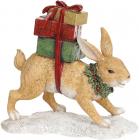 """Декоративна статуетка """"Рудий Заєць з подарунками"""" 19.5х7.5х18см, полістоун"""