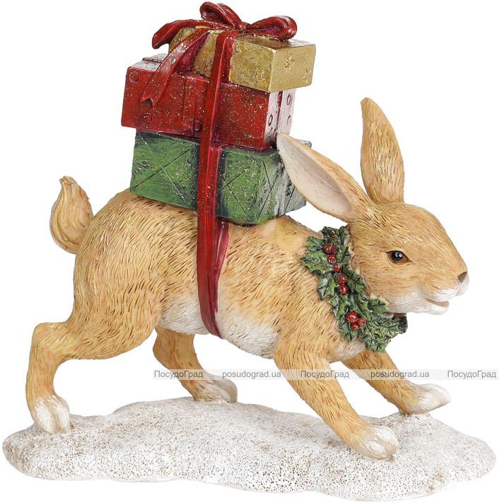 "Декоративная статуэтка ""Рыжий Заяц с подарками"" 19.5х7.5х18см, полистоун"