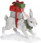 """Декоративна статуетка """"Сірий Заєць з подарунками"""" 19.5х7.5х18см, полістоун"""