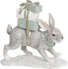 """Декоративна статуетка """"Сірий Зайчик з подарунками"""" 19.5х7.5х18см, полістоун"""