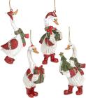 Набір 4 фігурки-підвіски «Гусь Різдвяний» 5.5х3.5х11.5см