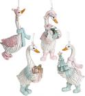 Набор 4 фигурки-подвески «Гусь Рождественский» 5.5х3.5х11.5см, тиффани