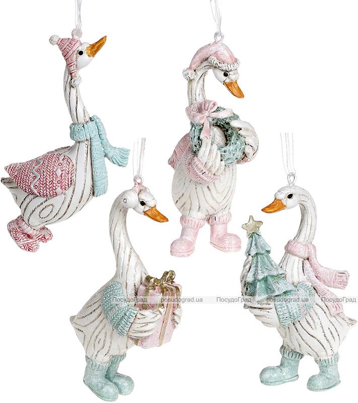 Набір 4 фігурки-підвіски «Гусь Різдвяний» 5.5х3.5х11.5см, тіффані