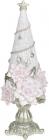 """Декоративна статуетка """"Ялинка у рожевих квітках"""" 10х10х29см, шампань"""