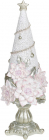 "Декоративная статуэтка ""Елка в розовых цветах"" 10х10х29см, шампань"