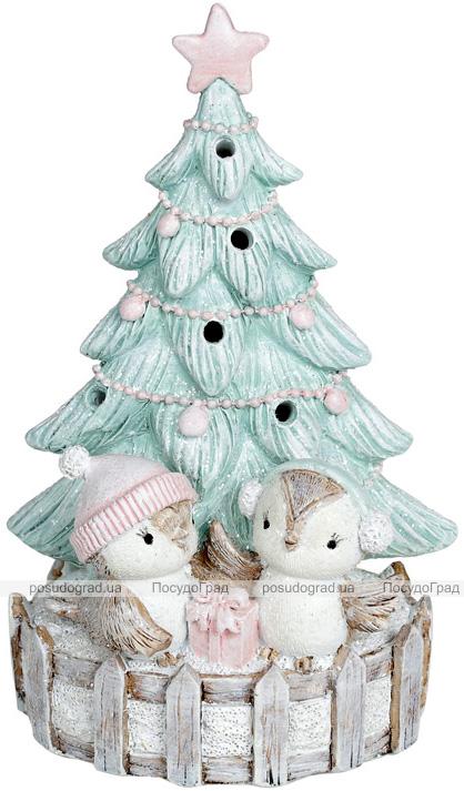 Статуэтка «Птички под елкой» с LED подсветкой 11.5х8.5х18см, тиффани