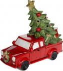 """Декоративна статуетка """"Червоний автомобіль з ялиною"""" з LED підсвічуванням 22х9.5х19см"""