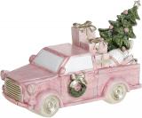 """Декоративна статуетка """"Рожевий автомобіль з ялиною"""" з LED підсвічуванням 15х6х9см"""