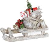 """Декоративна статуетка """"Сані з Подарунками"""" 12.5см, полистоун, беж з зеленим і червоним"""