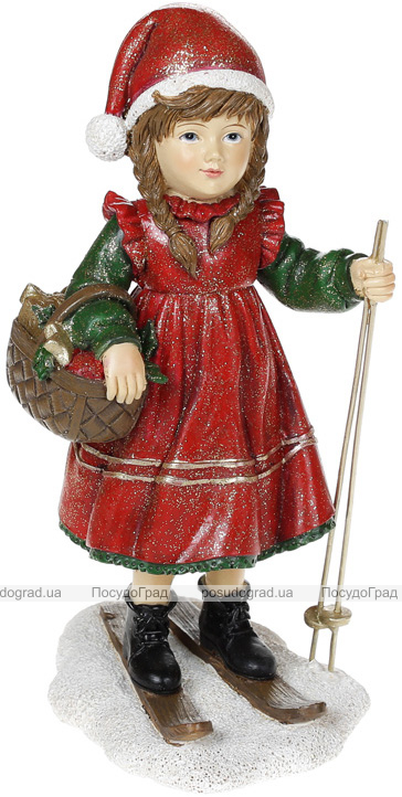 "Декоративная статуэтка ""Девочка на лыжах"" 11х9.5х20см, красный"
