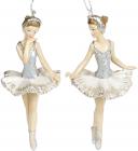 """Набір 6 підвісних статуеток """"Балерина"""" 11см, полистоун, шампань"""