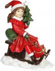 """Декоративна статуетка """"Дівчинка з ялинкою на санках"""" 19х11х22см, червоний"""