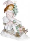 """Декоративна статуетка """"Дівчинка з ялинкою на санках"""" 19х11х22см, рожевий"""