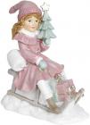 """Декоративна статуетка """"Дівчинка з ялинкою на санках"""" 19х11х22см"""