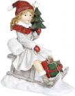 """Декоративна статуетка """"Дівчинка з ялинкою на санках"""" 19х11х22см, білий з червоним"""