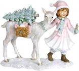 """Декоративна статуетка """"Дівчинка з Оленем"""" 22х9.5х18.5см, рожевий"""