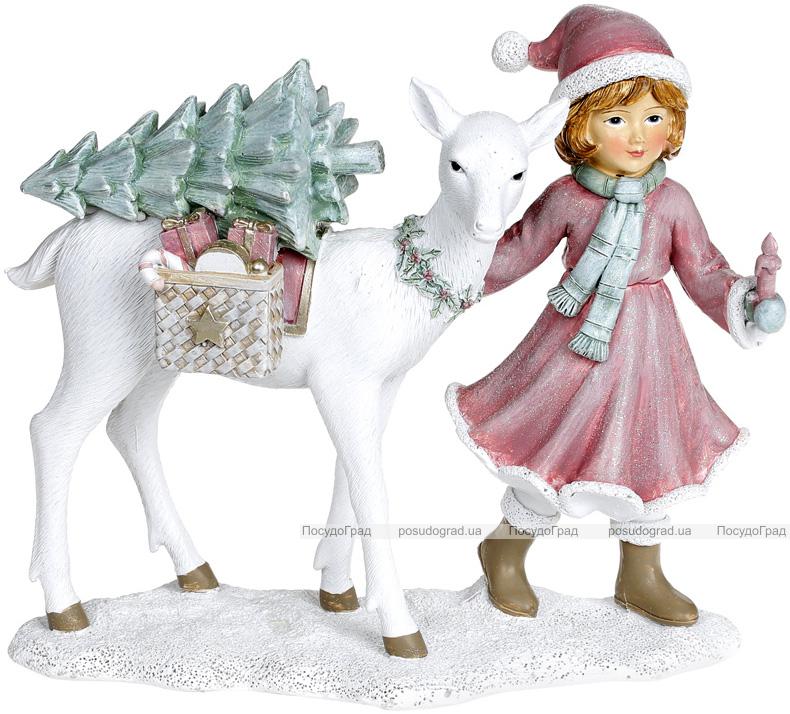 """Декоративна статуетка """"Дівчинка з Оленем"""" 22х9.5х18.5см, пурпурний"""