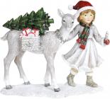 """Декоративна статуетка """"Дівчинка з Оленем"""" 22х9.5х18.5см, білий з червоним"""