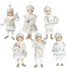 """Набір 6 підвісних фігурок """"Діти в очікуванні Нового Року"""" 5.5х4х11.5см, шампань"""