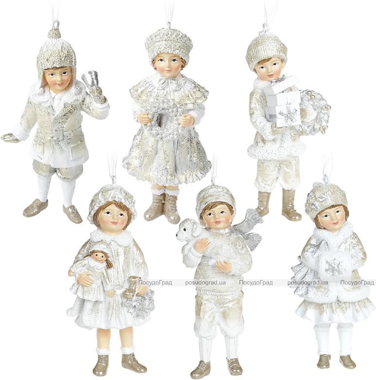 """Набор 6 подвесных фигурок """"Дети в ожидании Нового Года"""" 5.5х4х11.5см, шампань"""
