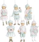 """Набір 6 підвісних фігурок """"Діти в очікуванні Нового Року"""" 6.5х4.5х12см, тіфані"""