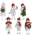 """Набір 6 підвісних фігурок """"Діти в очікуванні Нового Року"""" 6.5х4.5х12см, біли з червоним"""