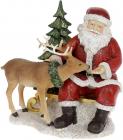 "Декоративна статуетка ""Санта з Оленем"" 17см, полистоун, червоний"