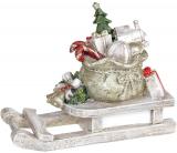"""Декоративні """"Сани з Подарунками"""" 20.5х8.5х15.5см, полістоун, беж з червоним"""