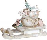 """Декоративні """"Сани з подарунками"""" 20.5х8.5х15.5, полістоун, беж з рожевим"""