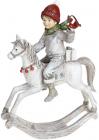 """Декоративна статуетка """"Юний Вершник"""" 19х9х26.5см, полістоун, білий з червоним"""