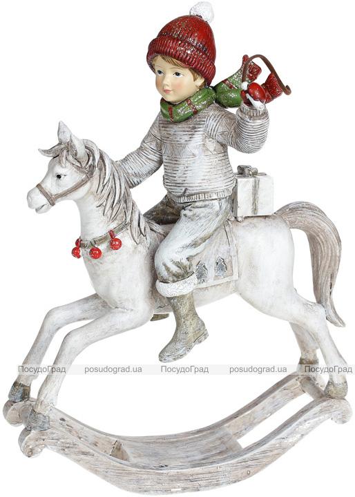 """Декоративная статуэтка """"Юный Всадник"""" 19х9х26.5см, полистоун, белый с красным"""