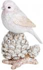 """Декоративна статуетка """"Пташка на Шишці"""" 13.5см, полистоун, бежево-рожевий"""