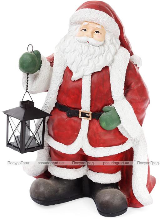 """Декоративна новорічна фігура """"Санта з ліхтарем"""" 30.5х22.5х40.5см"""