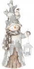"""Статуетка декоративна """"Сніговик з ліхтариком"""" 51.5см, кераміка"""