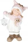 """Фигура керамическая """"Малышка в розовой шапке с совой"""" 50.8см"""