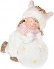 """Фігура керамічна """"Малятко в рожевій шапці на сніжку"""" 45.8см з LED-підсвіткою"""