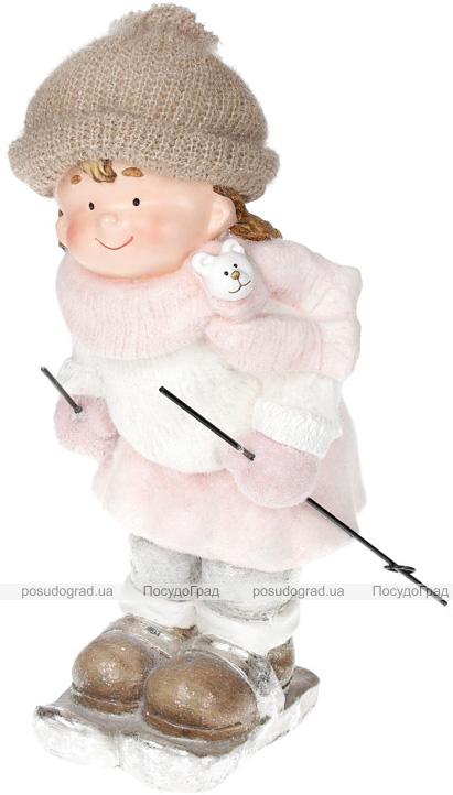 """Фигура керамическая """"Девочка в розовом на лыжах"""" 46см"""