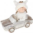 """Фігура керамічна """"Дівчинка в сріблястій машині"""" 45см"""