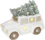 """Декоративний """"Білий автомобіль з ялиною"""" 35см з LED-підсвіткою"""