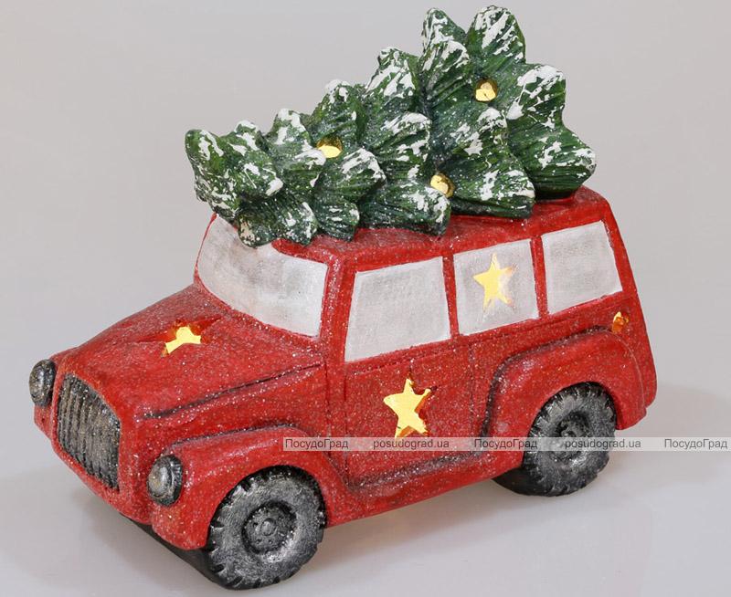 """Декоративный """"Красный автомобиль с елью"""" 35см с LED-подсветкой"""
